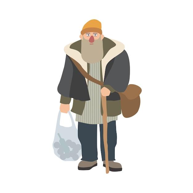 Oude dakloze man met baard en stok permanent en met plastic zak. oudere zwerver, zwerver of zwerver gekleed in armoedige kleding. cartoon karakter geïsoleerd. vector illustratie. Premium Vector