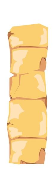 Oude egypte papyrus of stenen pijler cartoon vectorillustratie. oud papier met hiërogliefen voor het opslaan van informatie, egyptische cultuur religieuze symbolen, geïsoleerd op wit Gratis Vector