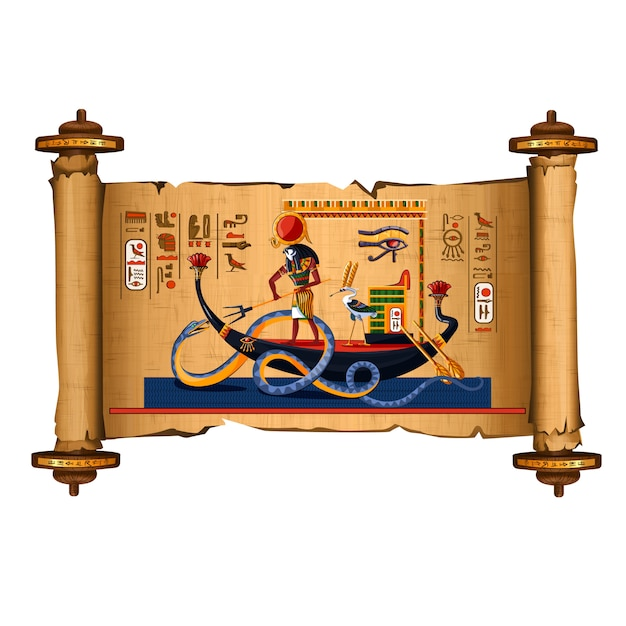 Oude egypte papyrus scroll cartoon Gratis Vector