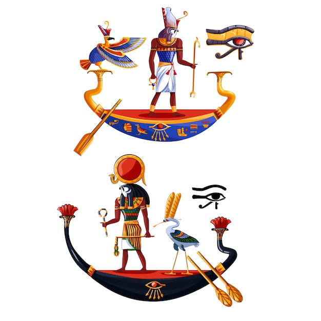 Oude egypte zonnegod ra of horus cartoon Gratis Vector