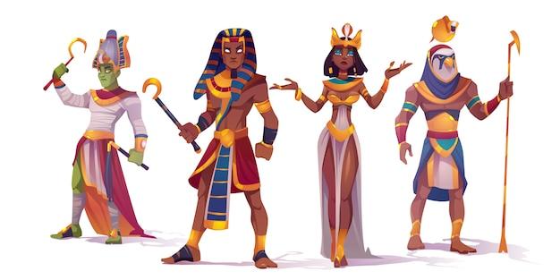 Oude egyptische god amon, osiris, farao en cleopatra. vector stripfiguren van de mythologie van egypte, koning en koningin, god met valk hoofd, horus en amon ra Gratis Vector