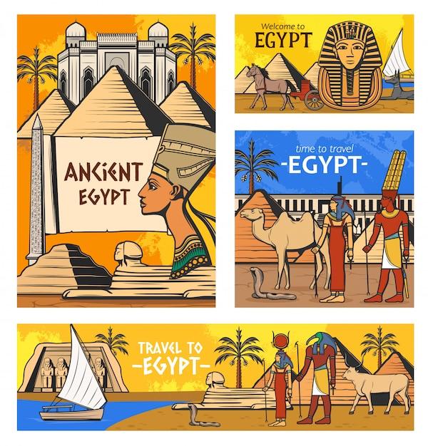 Oude egyptische goden en piramides Premium Vector