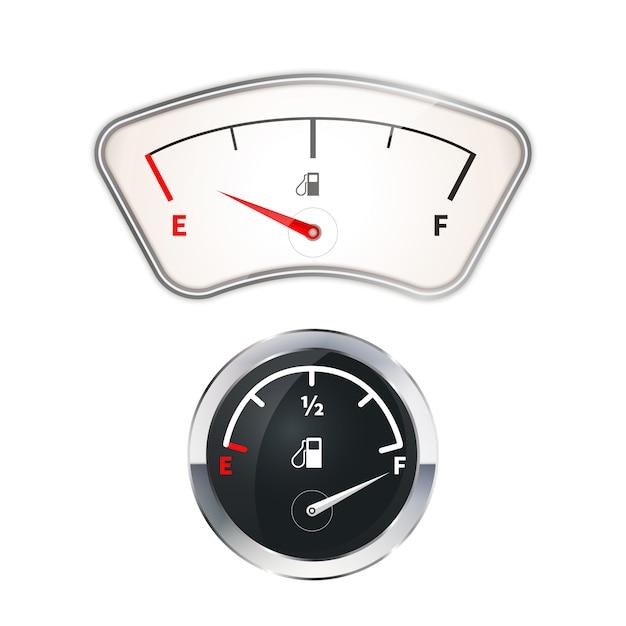 Oude en moderne brandstofindicatoren Premium Vector