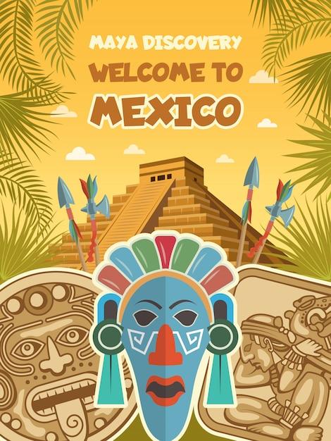 Oude foto's van tribale maskers, maya-artefacten en piramides Premium Vector