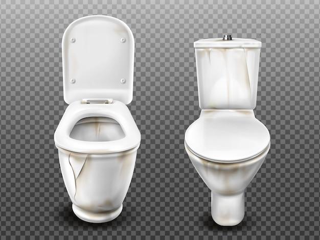 Oude gebroken vuile wc-pot Gratis Vector