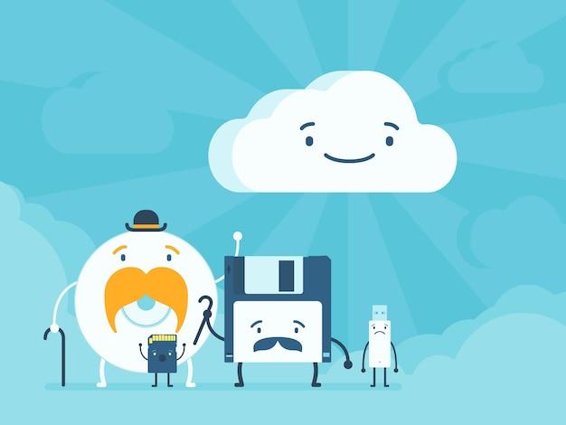 Oude geheugenopslag en clouddataservice Premium Vector