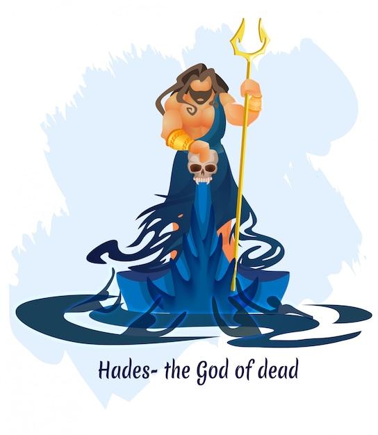 Oude griekse god, koning van dode hades of aidis Premium Vector