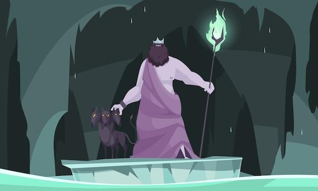 Oude griekse onderwereld god koning van dode hades platte cartoon compositie met drie koppige hond Gratis Vector