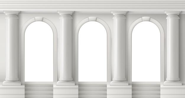 Oude griekse tempel met witte pilaren Gratis Vector