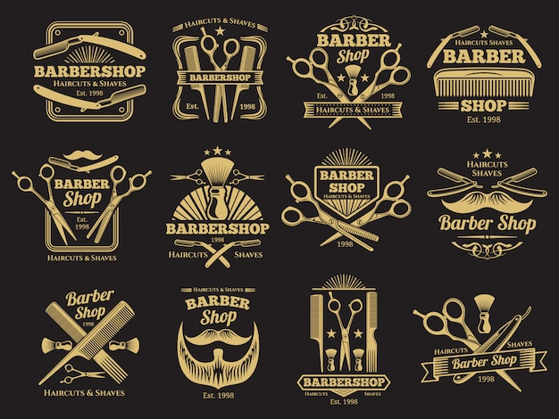 Oude herenkapper emblemen en labels Premium Vector