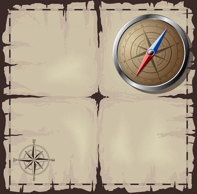 Oude kaart met stalen kompas Premium Vector