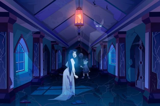 Oude kasteelzaal met spoken die in duisternisillustratie lopen Gratis Vector