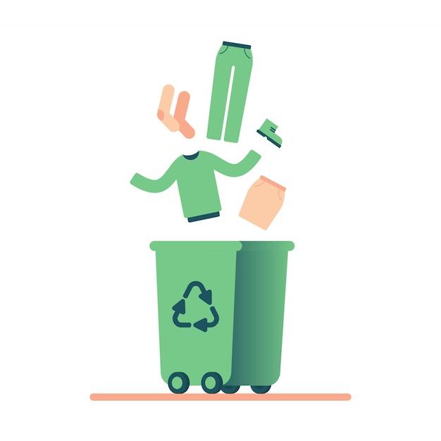 Oude kleding recyclen Premium Vector