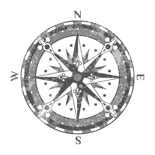 Oude kompasroos geïsoleerde pictogram Premium Vector