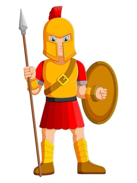 Oude krijger of gladiator poseren en speer te houden Premium Vector