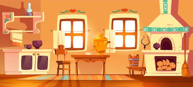 Oude landelijke russische keukenoven, samovar, tafel, stoel en handgreep. vectorbeeldverhaalbinnenland van traditioneel oekraïens oud huis met fornuis, houten meubilair, bezem en olielamp Gratis Vector