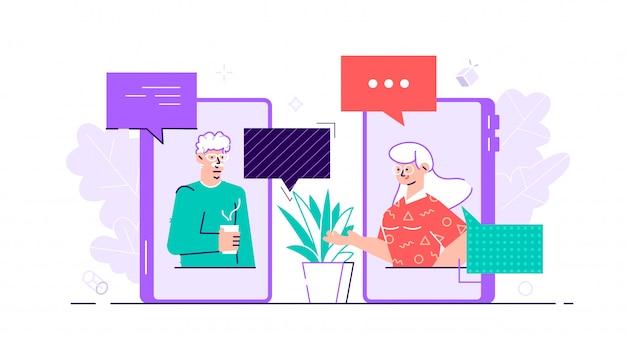Oude leeftijd familie paar man vrouw communicatie met behulp van slimme telefoon video-oproep. ouderen praten, chatten, berichten versturen en roddelen over sociale netwerkonderwerpen. vlakke stijl karakter illustratie Premium Vector