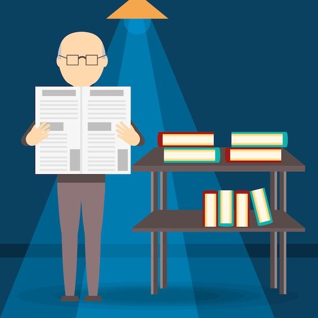 Oude man die de krant leest Premium Vector