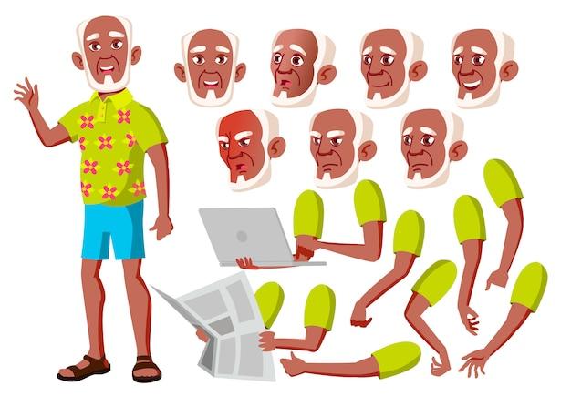 Oude man karakter. afrikaanse. creatie constructor voor animatie. gezichtsemoties, handen. Premium Vector