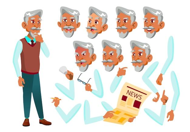 Oude man karakter. arab. creatie constructor voor animatie. gezichtsemoties, handen. Premium Vector