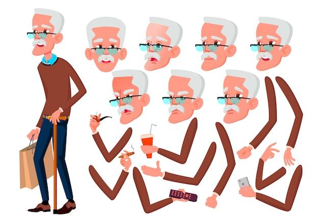 Oude man karakter. europese. creatie constructor voor animatie. gezichtsemoties, handen. Premium Vector