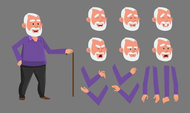 Oude man karakter met verschillende gezichtsemoties. teken voor aangepaste animatie. Premium Vector