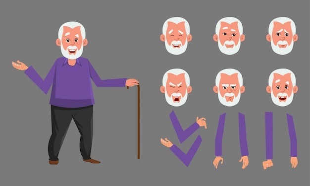 Oude man karakter ontwerpset voor animatie, motion design of iets anders. Premium Vector