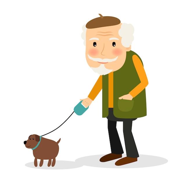 Oude man lopen met de hond Premium Vector