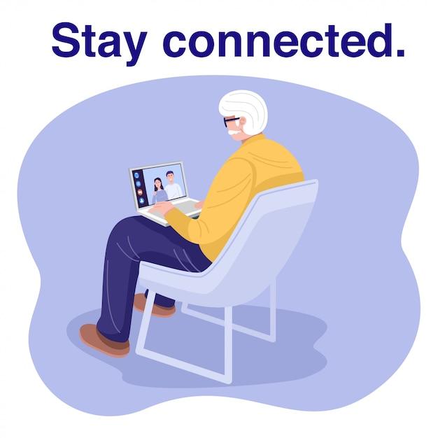 Oude man met behulp van laptop en videochat met familie. Premium Vector