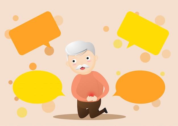 Oude man met buikpijn en bubble chats rondom Premium Vector