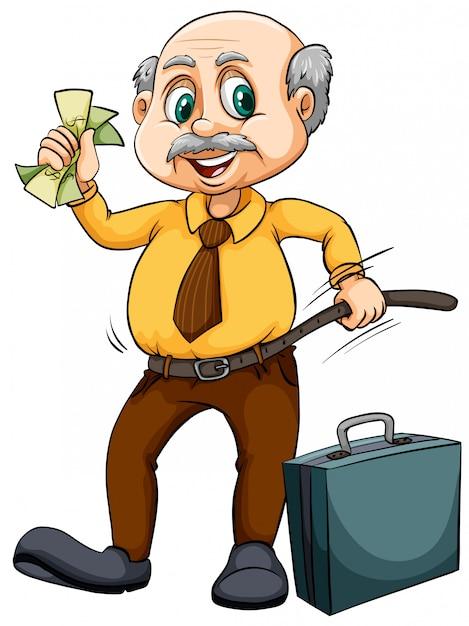 Oude man met geld Gratis Vector