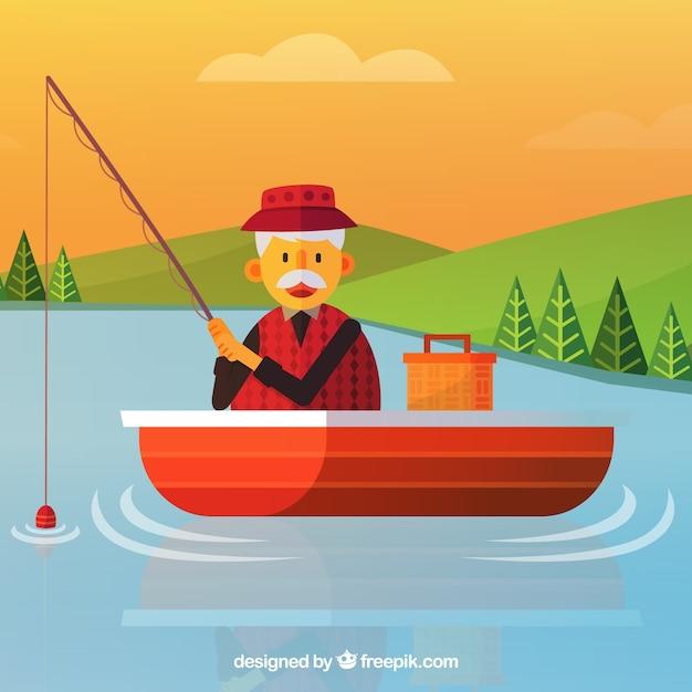 Verjaardag Man Vissen.Oude Man Vissen In Een Boot Achtergrond Gratis Vector
