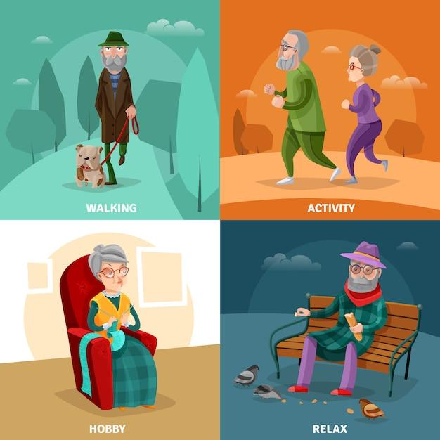 Oude mensen cartoon concept Gratis Vector