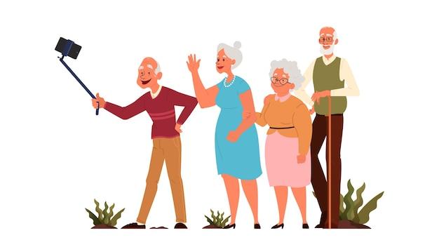 Oude mensen die samen selfie nemen. oudere personages die een foto van zichzelf maken. oude mensen leven. senioren met een actief sociaal leven. Premium Vector