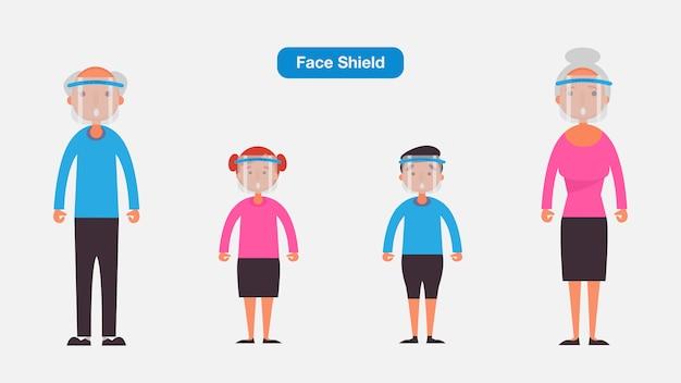 Oude mensen en kinderen dragen medische gezichtsmasker of schild. coronavirus quarantaine concept. karakter illustratie. Premium Vector
