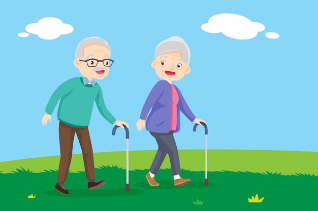 Oude mensen lopen Premium Vector