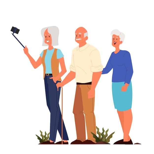 Oude mensen nemen elfie samen. oudere personages die een foto van zichzelf maken. oude mensen leven. senioren met een actief sociaal leven. Premium Vector