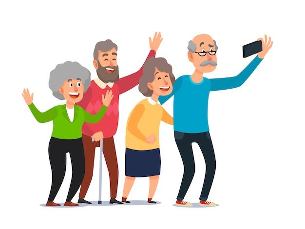 Oude mensen selfie, hogere mensen die smartphonefoto nemen, gelukkige lachende groep oudstenbeeldverhaal Premium Vector