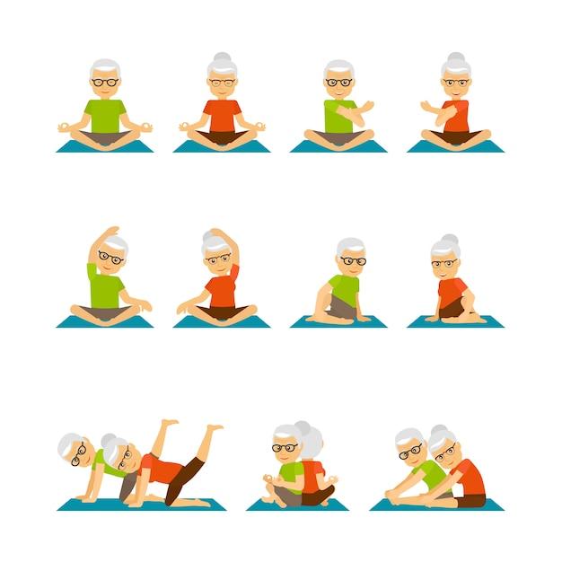 Oude mensen yoga Premium Vector