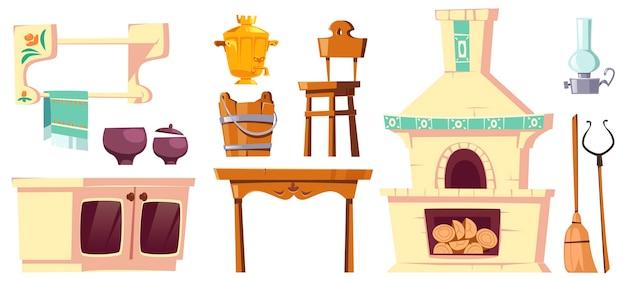 Oude meubels van landelijke russische keuken met oven, samowar, tafel, stoel en handgreep. Gratis Vector
