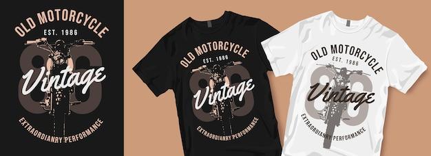 Oude motorfiets vintage t-shirtontwerpen Premium Vector