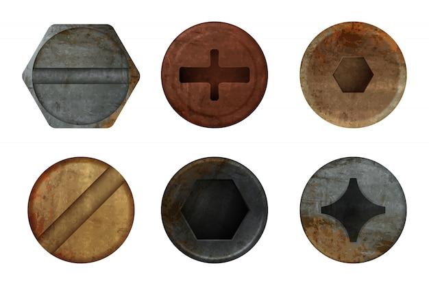 Oude roestige bouten schroef. hardware roest metaal textuur voor verschillende ijzeren gereedschappen. realistische afbeeldingen Premium Vector