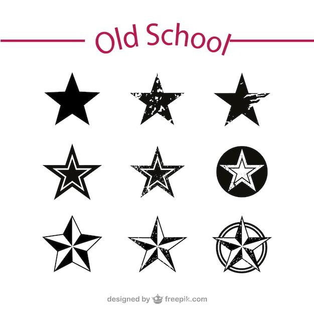 Oude school sterren vector set Gratis Vector