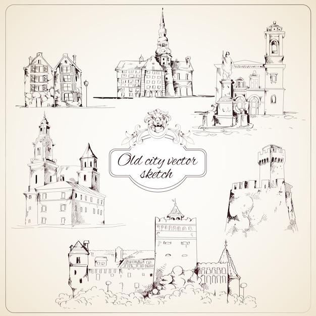 Oude stad schets Gratis Vector