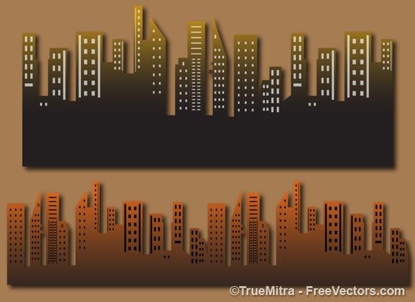 Oude stadsgebouwen vector Gratis Vector