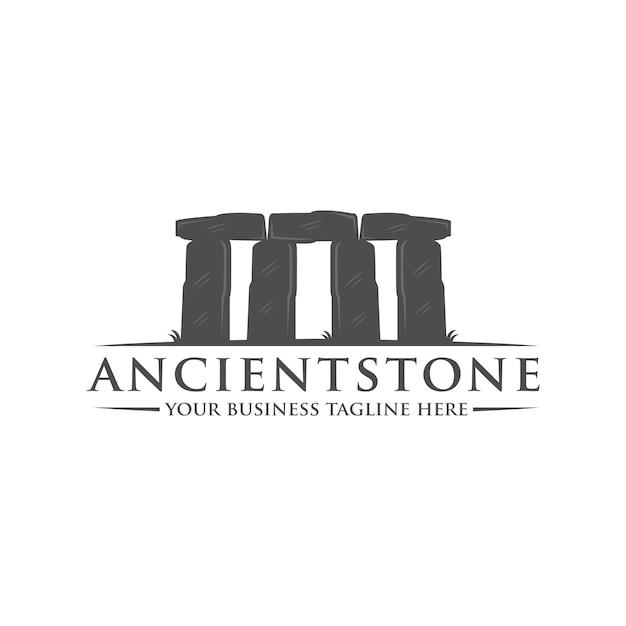 Oude stenen logo sjabloon Premium Vector