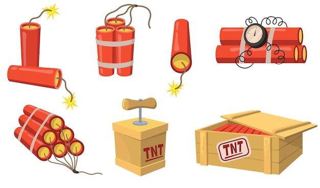 Oude stijl dynamiet platte set voor webdesign. cartoon detonator en tnt lading geïsoleerde vector illustratie collectie. mijnbouw en constructie concept Gratis Vector
