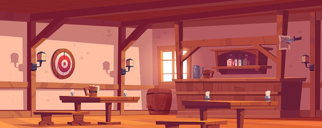Oude taverne, vintage pub met houten toog, plank met flessen, lantaarns en bierpul op tafel. vectorbeeldverhaal leeg interieur van retro saloon met vat en pijltjesdoel op muur Gratis Vector
