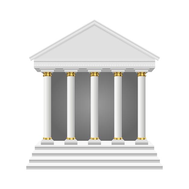 Oude tempel geïsoleerd Premium Vector