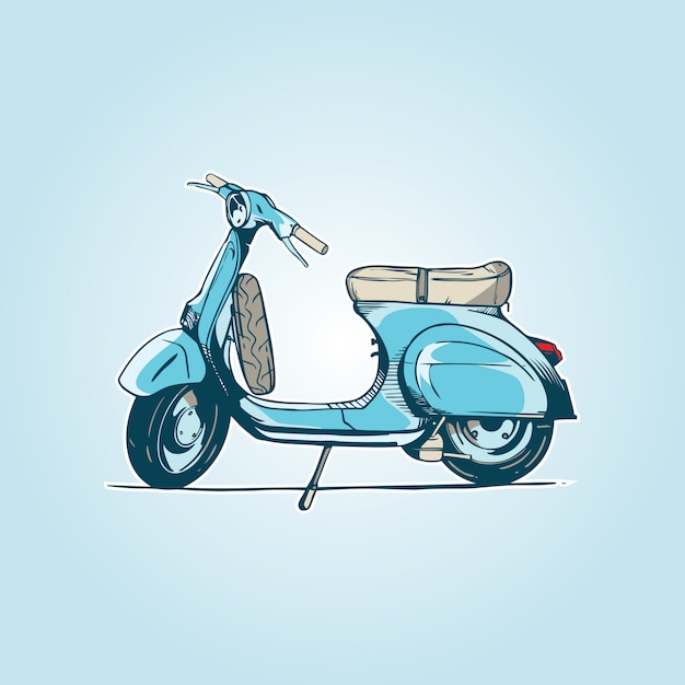 Oude turquoise scooter Premium Vector
